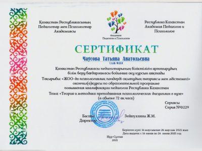 Сертификат Чаусова