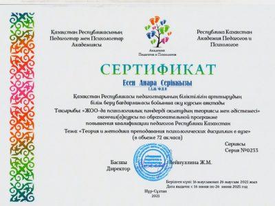 Сертификат Есен